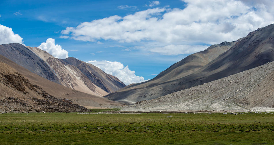 View of Mountain Range Landscape, Leh Ladakh , India Backgrounds Beauty Blue Glacier High Up Hiking Landscape Mountain Nature No People Outdoors Vacations