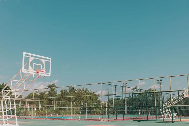 View of basketball hoop against clear sky