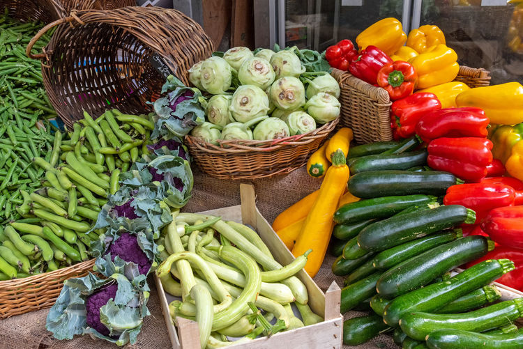 Vegetables for sale in market stall