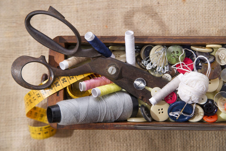 High angle view of sewing item on table