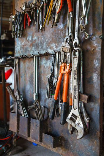 Tools hanging at workshop