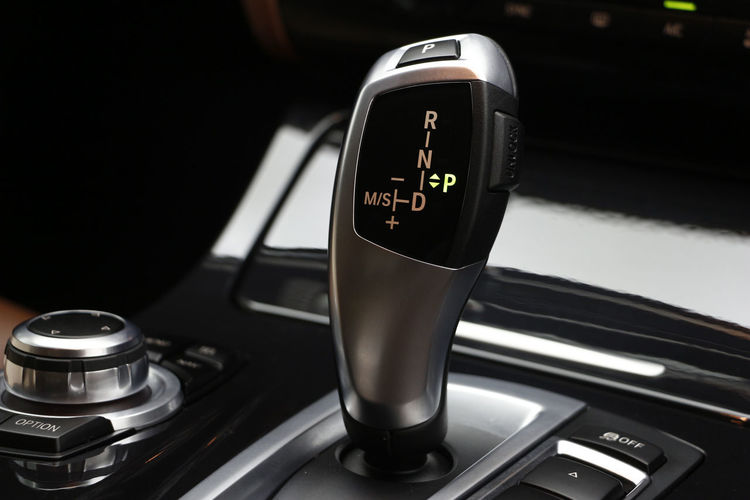 Close-up of car gearshift