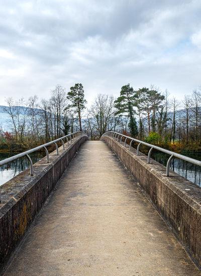 Empty footbridge along plants and trees against sky