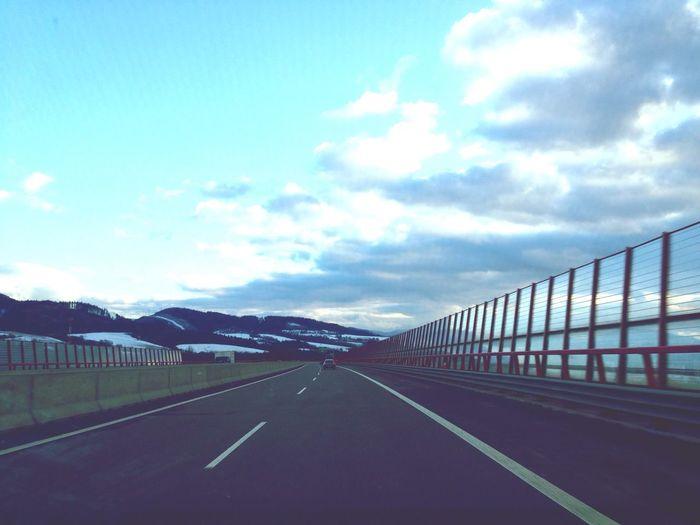 Hello World Road Road Trip Highway Sky Clouds Way