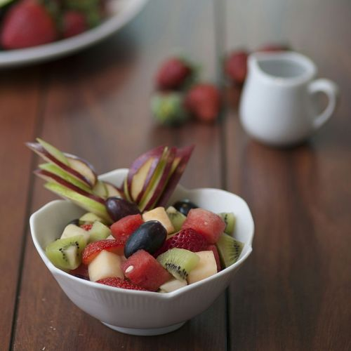 Close-up of fruit salad in bowl on table