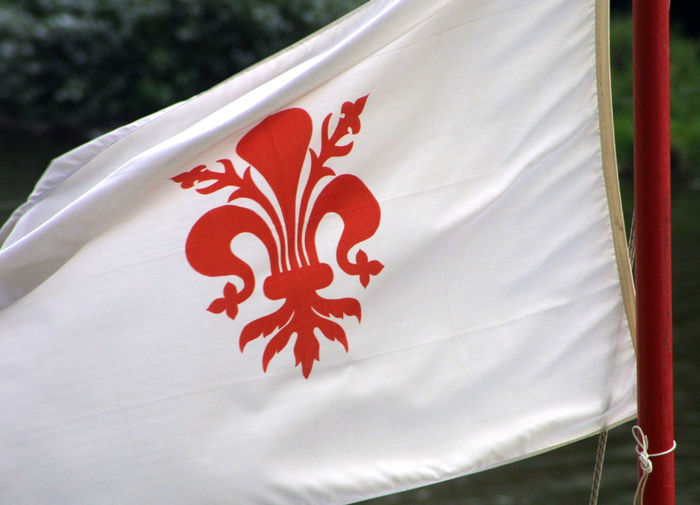 Florence, Italy Florentine Flag Close-up Day Flag Maple Leaf No People Outdoors Patriotism Pattern Red Textile
