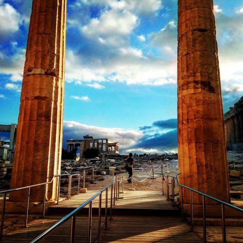 Ancient Monuments Acropolis, Athens Architectural Column Sky Architecture Cloud - Sky Built Structure Bridge - Man Made Structure Ancient Civilization First Eyeem Photo EyeEmNewHere
