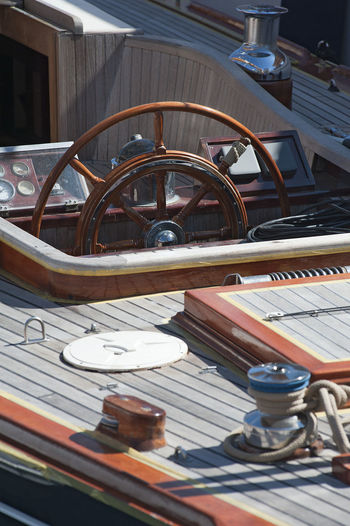 Boat Built Structure Day High Angle View Holidays Luxury Luxurylife Metal No People Portrait Rudder Sail Sailing Seat Sunlight Tourist Wood - Material
