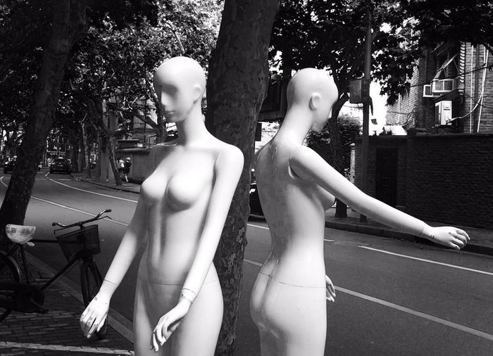 Mannequins by tree on street