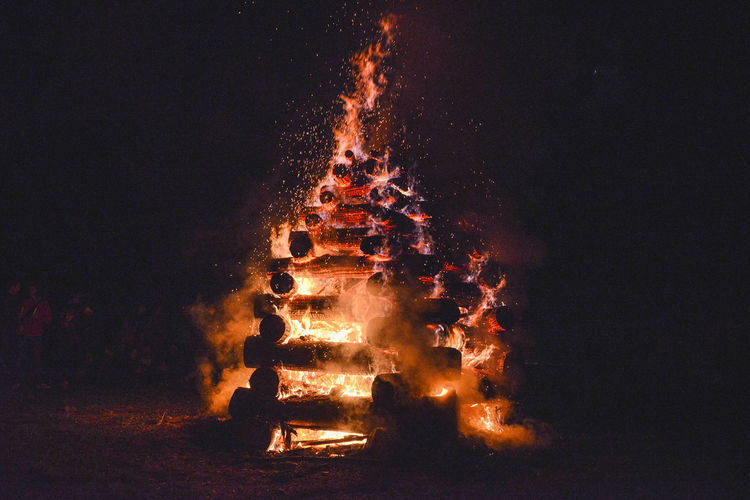 Close-up of bonfire against sky at night