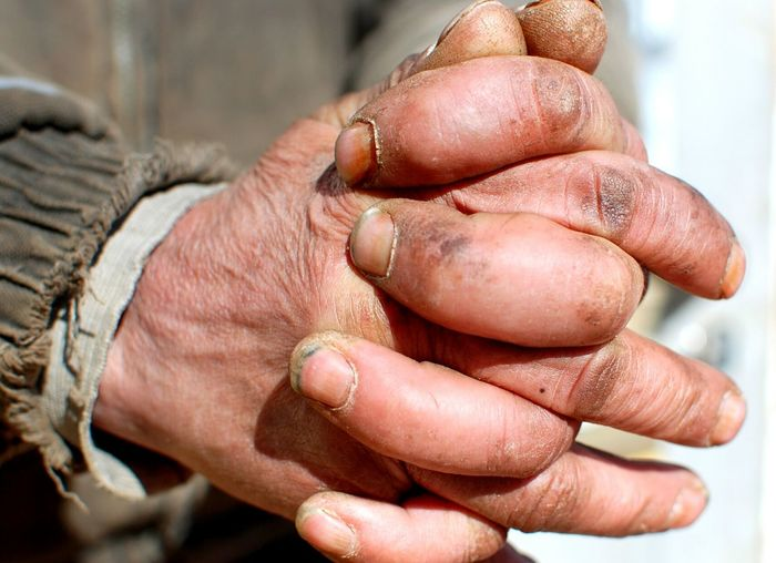 Human Hand Human Body Part Lifestyles Close-up Cultures Adult People Fingernail Men Palm Adults Only Outdoors Day Dirty Dirty Hands Dirty Nails Poor Men