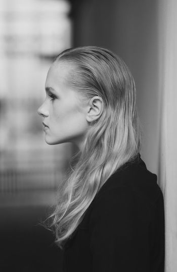 Side view of woman looking away