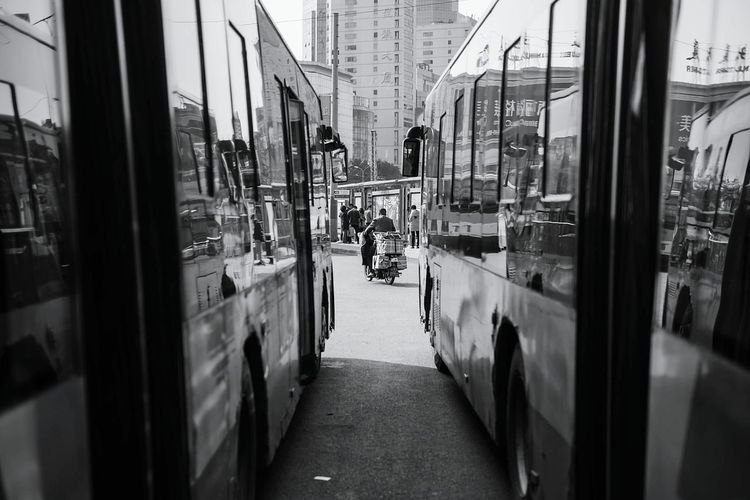 bike and bus. Beijing, China Fujifilm X-E2 Black & White Street Photography City Life Public Transportation Bus Bike