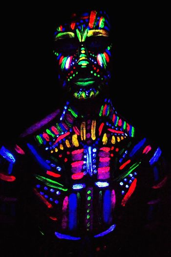 Forground Ruleofthirds Pose Focal Point Male Darkroom Shapes Studio Photography Studio Creative Colour Project Photographer Tribe Scary Model Studio Shot Lights Flouresent Light Glow Paint UV  Ultraviolet Photography Shoot Photography