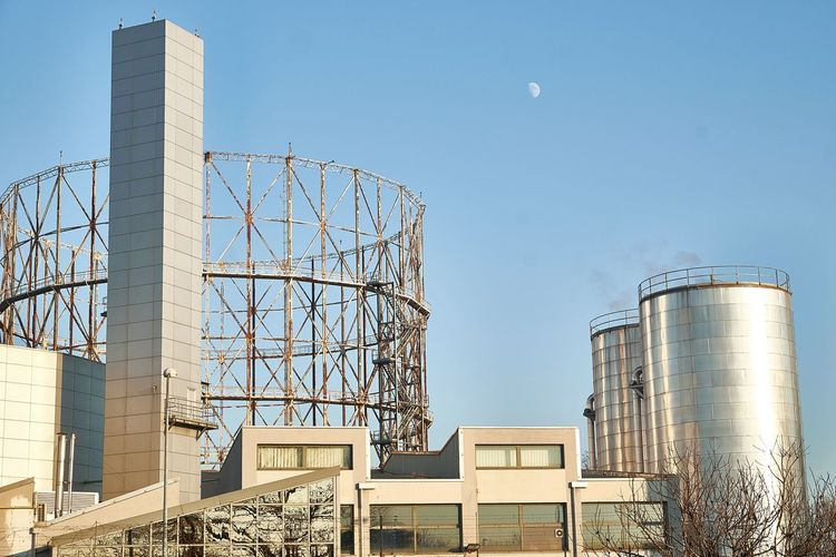 Silos Against Clear Sky