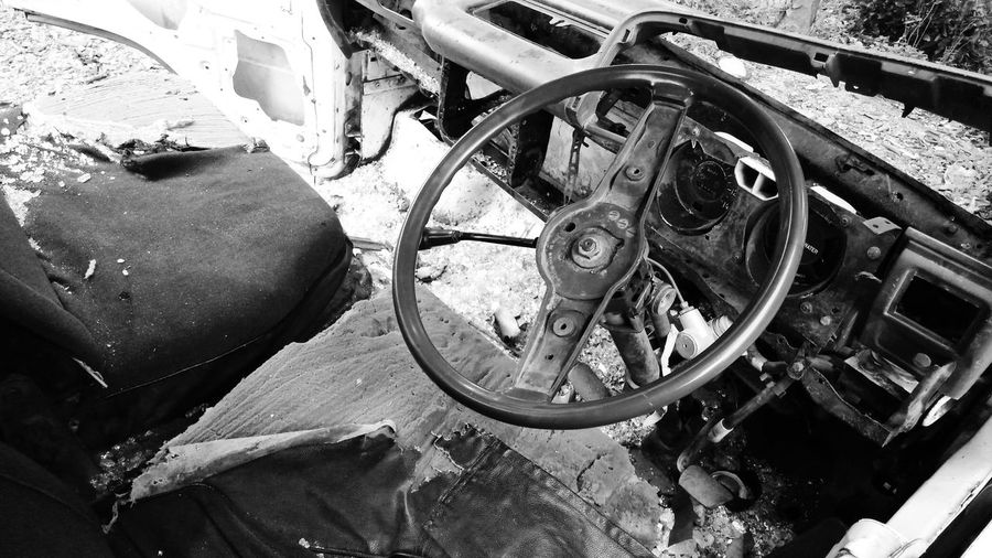 Forgoten wrecked Car Broken Car Rusted Car Rusted Steering Wheel Showing Imperfection Wrecked Car Car Crash Wrecked Truck Wrecked Rusted Transportation