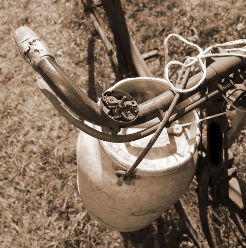 ancient milking bicycle with milk can and ancien Ancient Dairyman Milkman Transport Transportation Wheel Bicycle Bicycles Of Amsterdam Bicycling Bike Biker Can Carry Cyclephotography Cycles Cycling Dairy Product Deliver Drink Food Milk Bin Milk Churn Milk Churns Milking Old