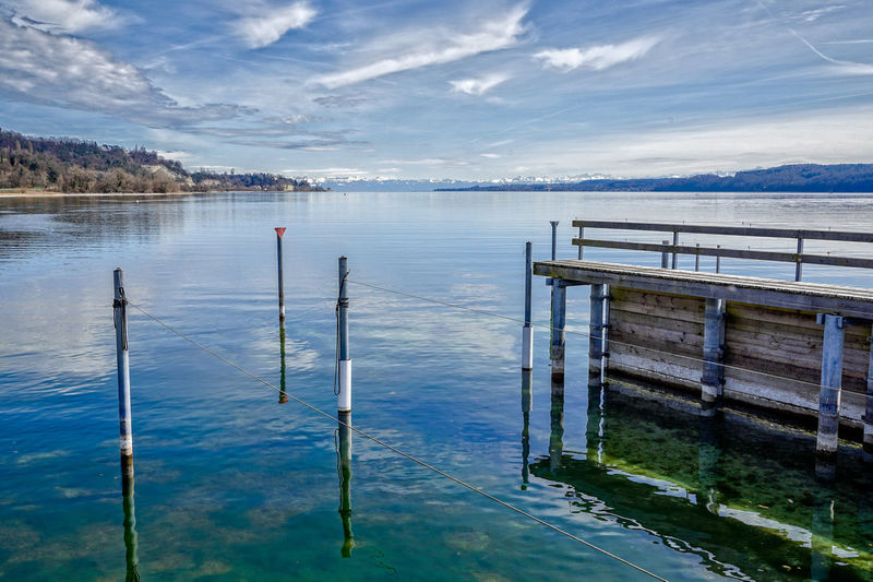 Lake Constance Sipplingen Am Bodensee Beauty In Nature Bodensee Day Reflection Scenics - Nature Water Waterfront Wooden Post