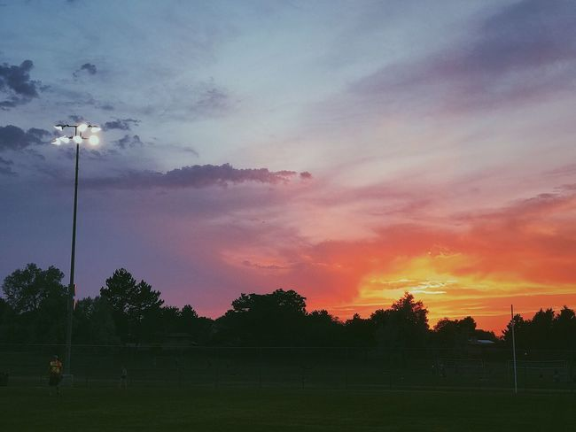 Sunset Sky Cloud - Sky Nature Tree Beauty In Nature Field Scenics No People Grass Outdoors Growth Soccer Field Day