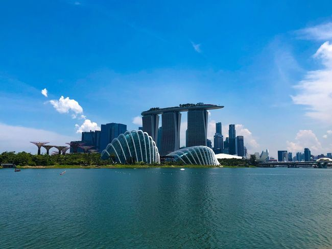 Singapore Garden By The Bay Marina Bay Sands Architecture Sky Built Structure Water Building Exterior City Nature Waterfront Blue Cloud - Sky Building No People Cityscape Day Sea