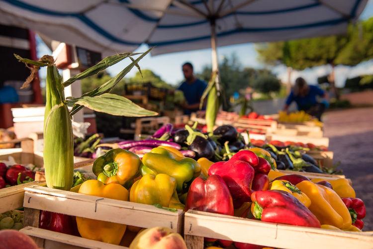 Close-Up Of Vegetables For Sale At Market