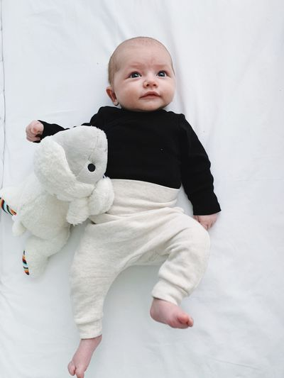 Baby Young Child Cute Childhood Innocence Indoors  Full Length Babyhood One Person Bed Toddler  Furniture Real People Close-up Cute Baby 2 Months Old Son Baby Boy Stuffed Toy Toy Sheep Portrait Newborn