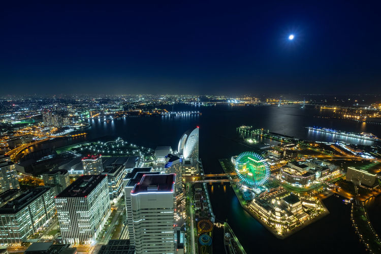 City Building Exterior Cityscape Architecture Night Illuminated Built Structure Office Building Exterior Sky High Angle View Building No People City Life Travel Destinations Water Skyscraper Urban Skyline Nature Modern Outdoors Financial District  Bay Japan Yokohama