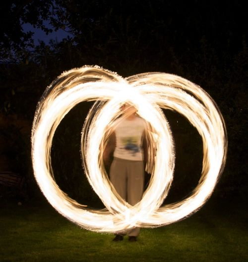 Double Circle Fire At Night Girl Spinning Light Circles Night Fire Spinnin Poi Point Of View Spinning