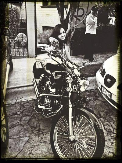 Mi little sister and my bike Motorbike Chopper Mexico City