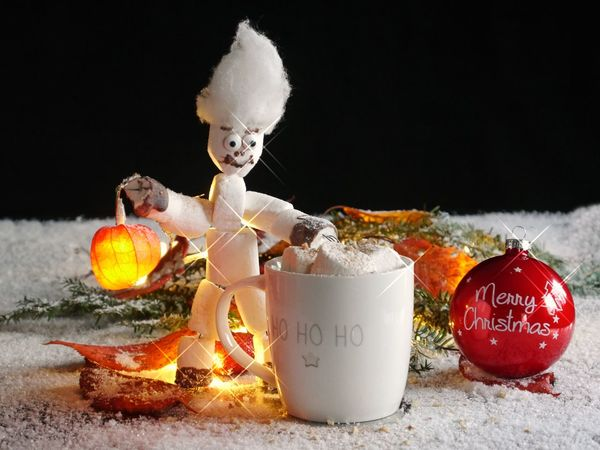 ArtWork Celebration Wintertime Christmas Christmas Decoration Close-up Cozy Time Day Drink Food Food And Drink Freshness Gooseberry Halloween Illuminated Marshmellow Man Marshmellows  No People Outdoors Snow Text Western Script