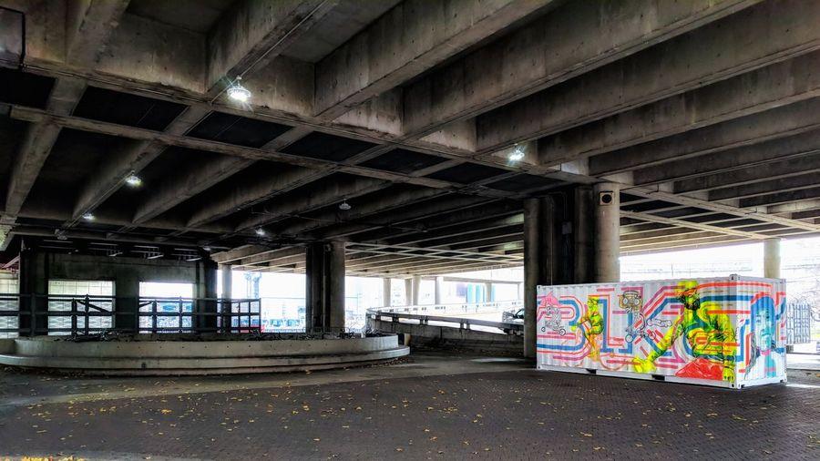 Graffiti on bridge in city