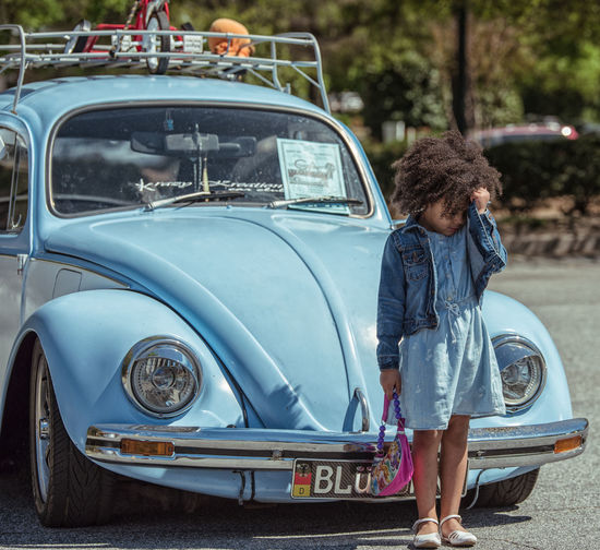 No Photographs Please! Telling Stories Differently Girl Child Volkswagen Classic Car Natural Light Outdoor Photography Nikon D750 Tamron 70-200mm F/2.8 Photographyisthemuse Check This Out Blue Small Shy Sunny Day