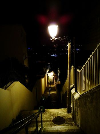 Night Illuminated Street Light Steps And Staircases Steps Outdoors No People City Leirilandia Paint The Town Yellow