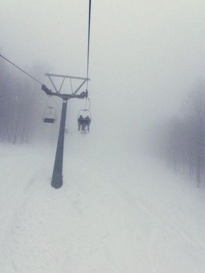 Winter Snow Chairlift Tree Fog