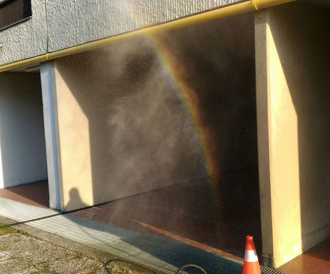 Arcobaleno In Garage Water Built Structure No People Architecture Spraying Outdoors Day