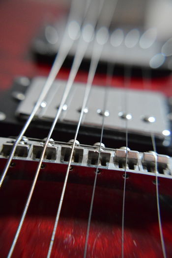 Electric guitar strings Blurred Blurred Lines Pickups Red Sound Arts Culture And Entertainment Close-up Electric Guitar Focus On Foreground Guitar Guitar Bridge Guitar Parts Guitar Player Guitarist Music Musical Equipment Musical Instrument Musical Instrument String No People Pick Ups Six String Stringed Strings Strung Out Vibrations First Eyeem Photo