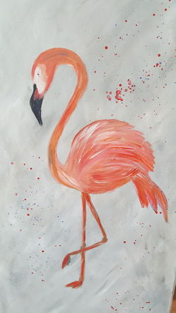 painted flamigo Animal Themes Art Artworks Close-up Day Flamingo High Angle View Indoors  No People One Animal Painting Red