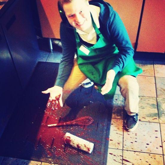 Larry spilled skinny mocha everywhere (: