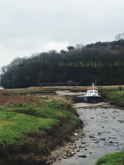 Boat in the stream at Laugharne, home of Dylan Thomas. Dylan Thomas Boats Boat Water Water_collection