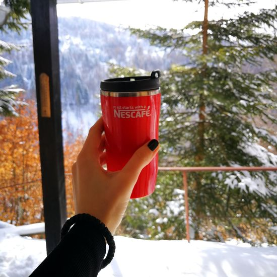 Human Hand One Person Personal Perspective Winter Snow Cold Temperature One Woman Only Tree Nature Warm Clothing Nescafe Coffee ☕ Winter Morningvibes Mountain View Vacations Beauty In Nature Kopaonik, Serbia Huaweip10plus Happiness