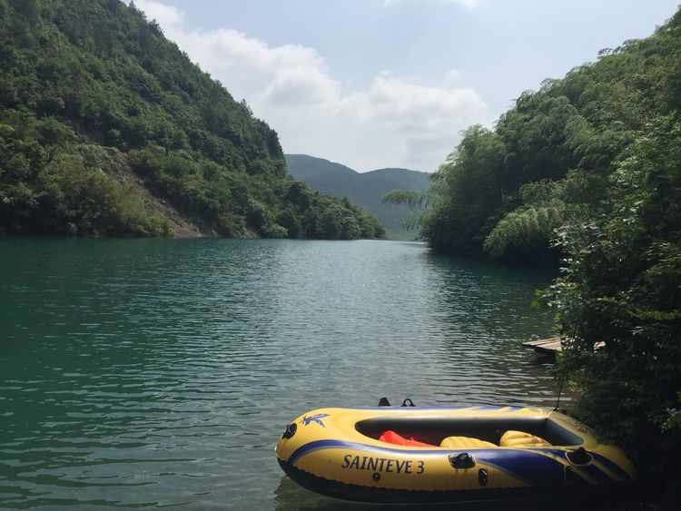 Beauty In Nature China Cloud - Sky Day Forest Hiking Kayak Lake Lake View Moganshan Mountain Nature Nautical Vessel No People Outdoors Pedal Boat Scenics Sky Tranquility Wanderlust Water Woods