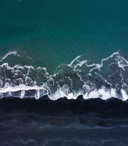 Birdsview Topview Blue Green Sea Ocean Dronephotography Drone  Wave Sand Black Black Beach Iceland Black Beach Water Sea Nature Motion No People Splashing Beauty In Nature Outdoors Wave Scenics - Nature Aquatic Sport Pattern Beach Power In Nature