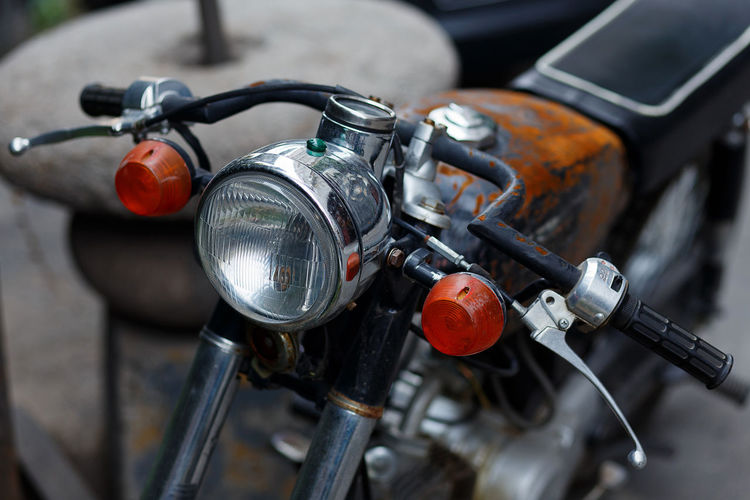 Classic Bicycle Classic Close-up Day Handlebar Headlight High Angle View Land Vehicle Metal Mode Of Transport Motorcycle No People Old-fashioned Outdoors Retro Speedometer Stationary Style Transportation Vintage Bike