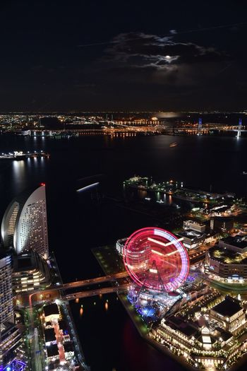 Architecture Illuminated City Building Exterior River Built Structure Water Night Transportation Cityscape Outdoors Aerial View No People Japan Yokohama 横浜 Nikon D750 Night View Minatomirai