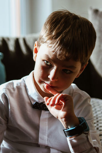 Portrait of boy looking away