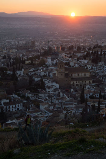 Granada Granada, Spain Andalucía Albaicin Albaycin Sacromonte San Migueal Del Alto Building Exterior Architecture Built Structure Cityscape Residential District City Crowd Sky Sunset Building Crowded Nature High Angle View Outdoors Sun Community Town Travel Destinations House TOWNSCAPE