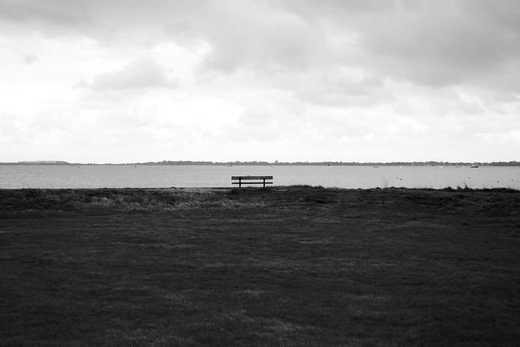 Second Best Bench Bench Blackandwhite Cloud - Sky Day Horizon Over Land Land Nature No People Sea Sky Tranquil Scene Water