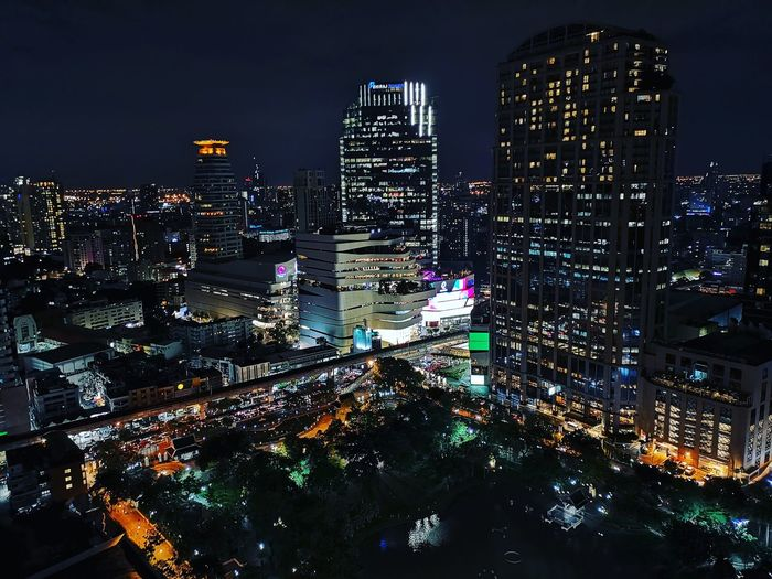 Sukgumvit Road a Bangkok CBD area. City Illuminated Modern Futuristic Light Trail Long Exposure Residential District Office Building High Street First Eyeem Photo