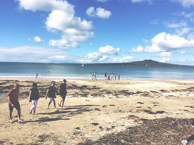 Rangitoto Island Takapuna Beach Sky Sea Nature Sand Shore Water Cloud - Sky Real People Beauty In Nature Men Large Group Of People Lifestyles Scenics Leisure Activity Sunlight Day Outdoors Vacations Horizon Over Water EyeEmNewHere