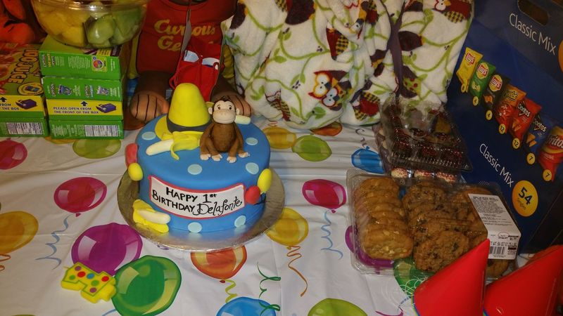 Baby Delafonte first birthday cake Birthday Cake Baby Birthday Curious George